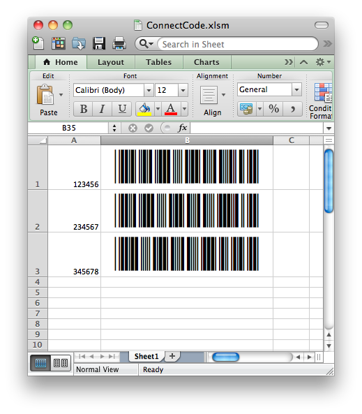 Creating barcodes in Microsoft Office for Mac